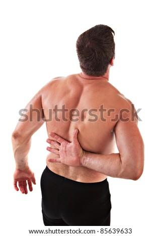 Painful Mid-age Man Holding Back on Isolated Background - stock photo
