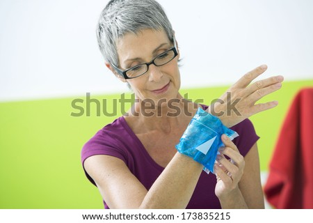 Painful Wrist In An Elderly P. - stock photo