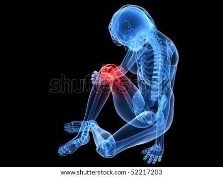 painfull knee - stock photo