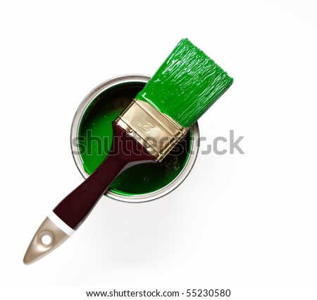 paint and a brush - stock photo