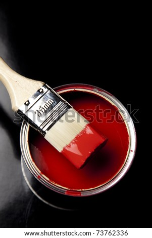 Paint and brush, Home decoration - stock photo