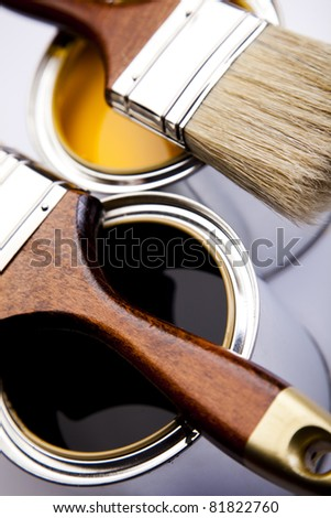 Paint and brushes - stock photo