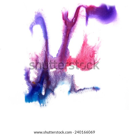 paint art pink, blue, red brushes  splash  ink blot and white abstract background isolated
