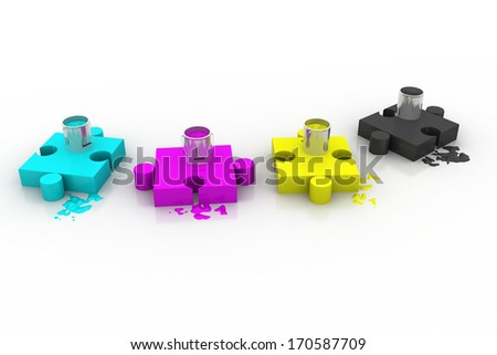 Paint bottles on the puzzle pieces   - stock photo