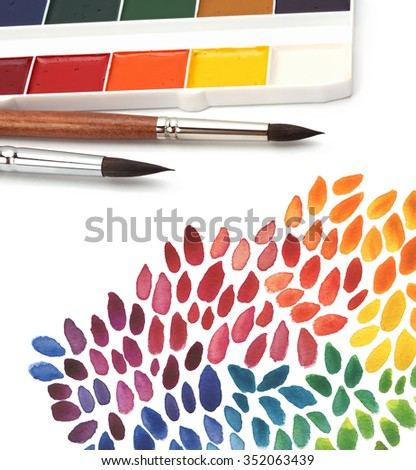 paint brush and color painted background - stock photo
