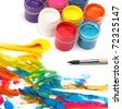 Paint brush and colors - stock photo