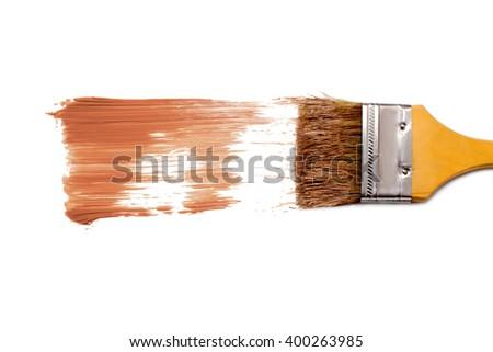 paint brush and dab of tone cream.foundation. texture. sample and brush isolated on white background - stock photo