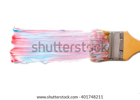 paint brush and dab of toothpaste. tricolor tooth paste. texture. sample and brush isolated on white background - stock photo