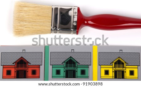 paint brush and houses in different colors - stock photo
