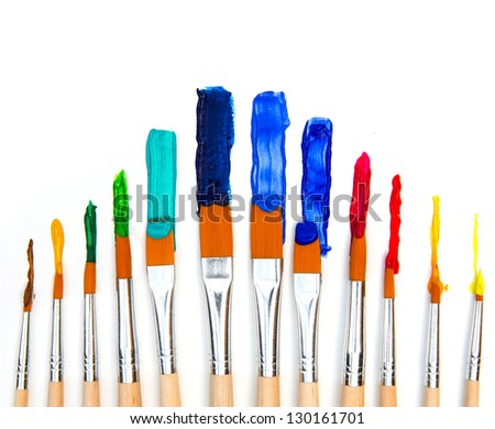 Paint brush and paint - stock photo