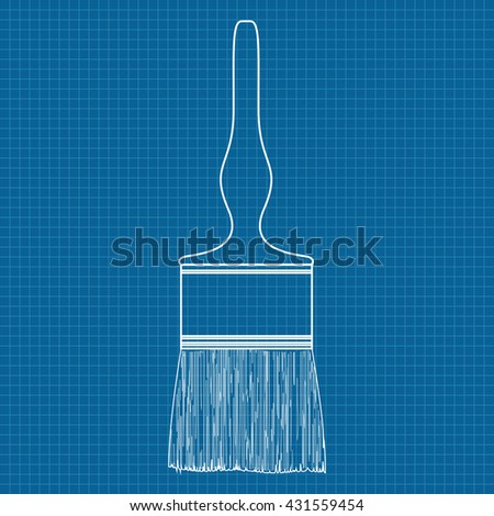 Paint brush illustration on blueprint background stock illustration paint brush illustration on blueprint background malvernweather Image collections