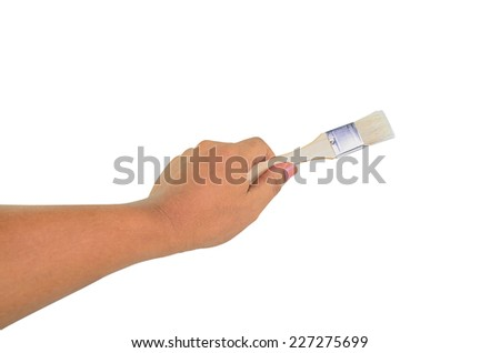 paint brush in man hand isolated on white background
