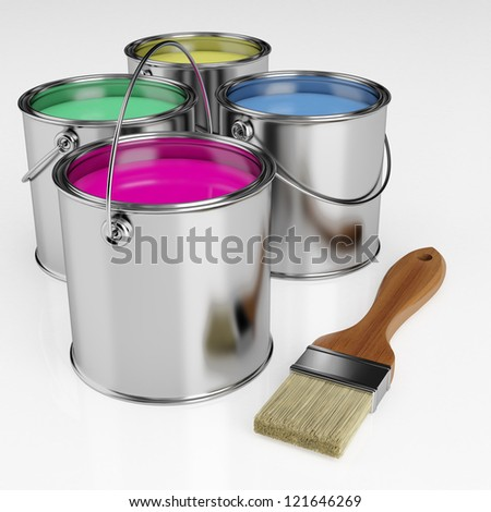 Paint brush next to the can of paint in different colors - stock photo