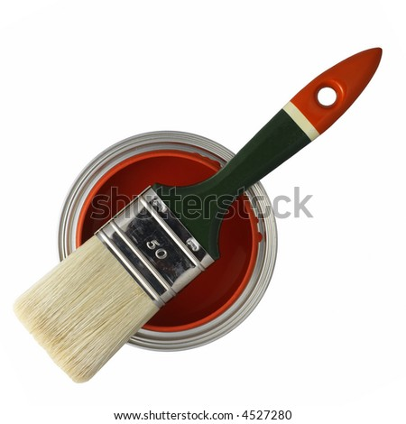 paint brush on top of a can filled with red paint (isolated on white) - stock photo