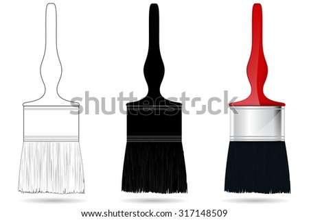 Paint Brush. Raster version. Isolated on white.