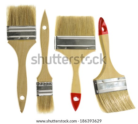 Paint brush set isolated over white background  - stock photo