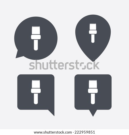 Paint brush sign icon. Artist symbol. Map pointers information buttons. Speech bubbles with icons. - stock photo