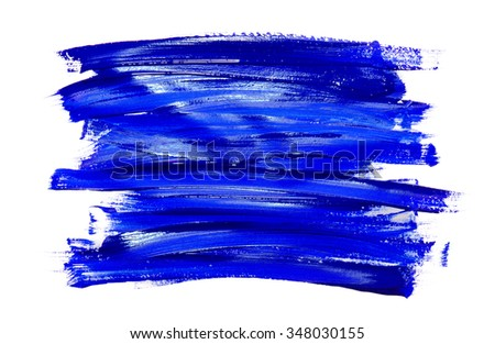 Paint brush stroke texture blue watercolor isolated on a white background - stock photo