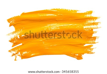 Paint brush stroke texture ochre watercolor isolated on a white background - stock photo