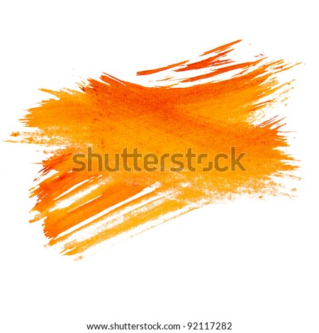paint brush stroke texture orange watercolor spot blotch isolated - stock photo