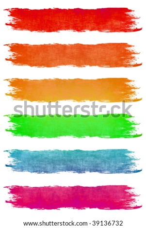 Paint Brush Strokes in Assorted Pastel Colors - stock photo