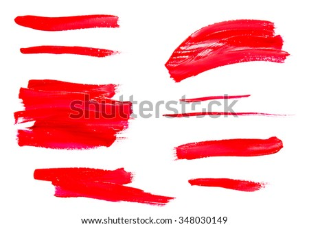 Paint brush strokes texture red watercolor isolated on a white background - stock photo