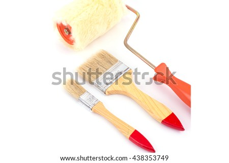 Paint brush tools Isolated on white background.