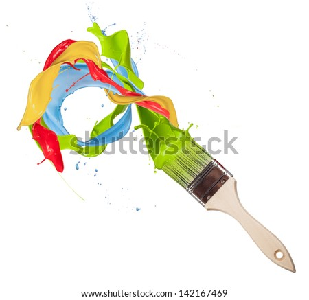 Paint brush with colored splashes, isolated on white background - stock photo