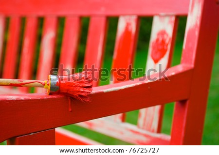 paint-brush with red color - stock photo