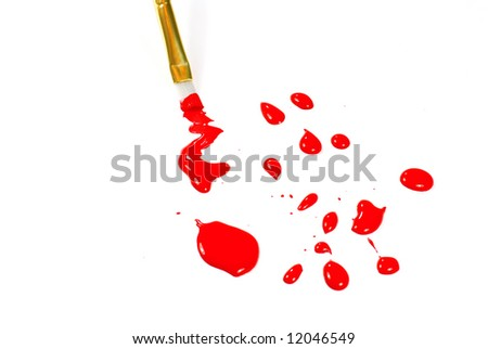 Paint brush with red paint drops