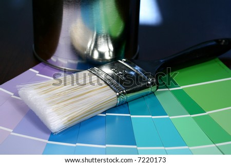 Paint Brush with Swatches - stock photo
