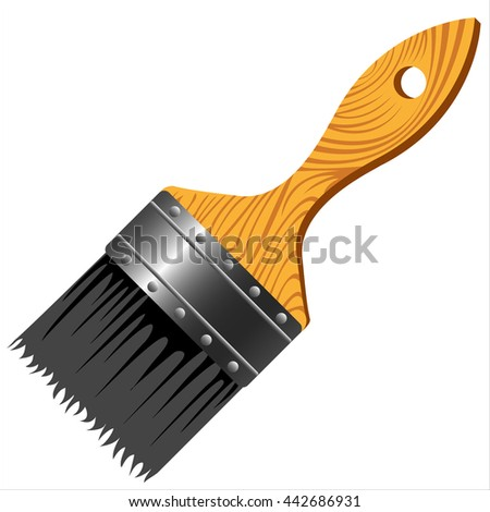 paint brush with wooden handle on white background - stock photo