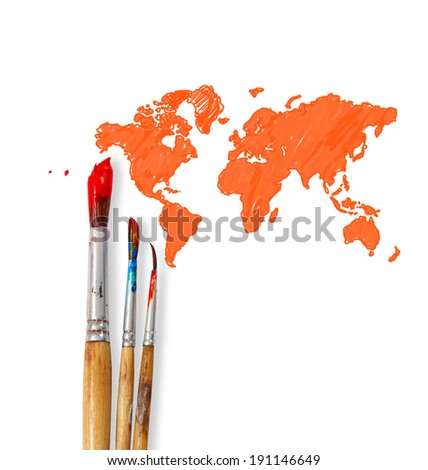 paint brushes isolated on white background  - stock photo