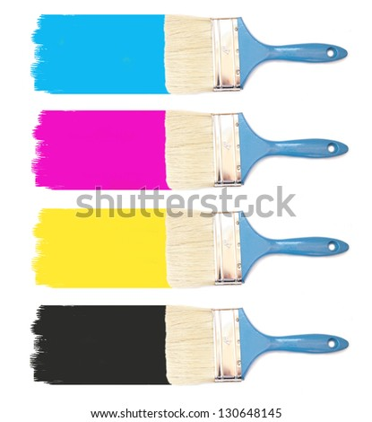 Paint brushes with paint palette CMYK - stock photo
