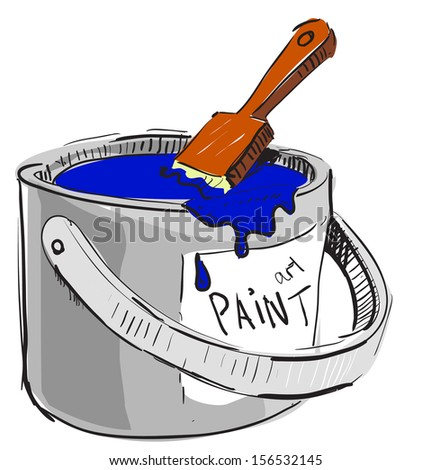 Paint bucket with brush sketch cartoon illustration - stock photo