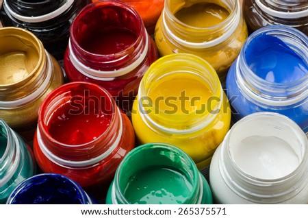 paint buckets - stock photo