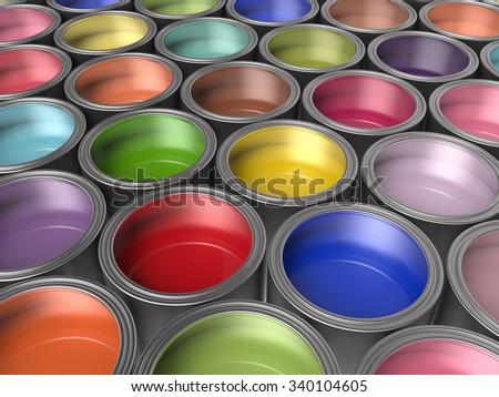 Paint Buckets Background , 3d render - stock photo