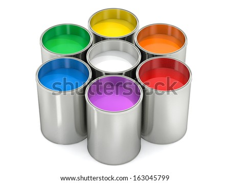 Paint buckets - color wheel - stock photo