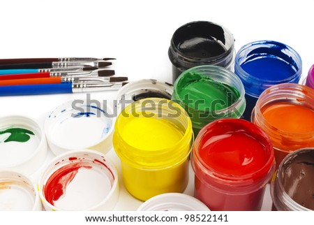 paint buckets in soft focus