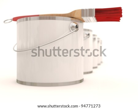 Paint buckets with paintbrush