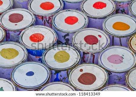 paint buckets with various colors
