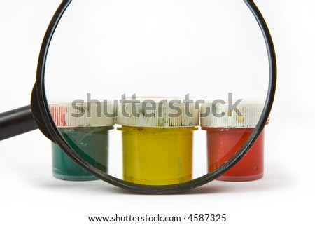 paint buckets with various colors - stock photo