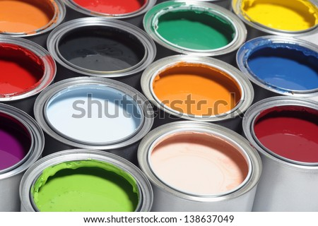 Paint can color palette - stock photo