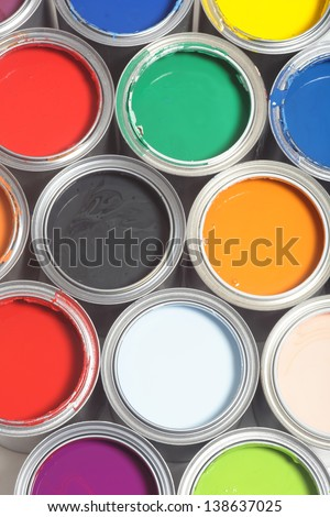Paint can color palette, top view - stock photo