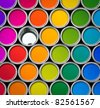 Paint can color palette, top view, one empty can - stock photo