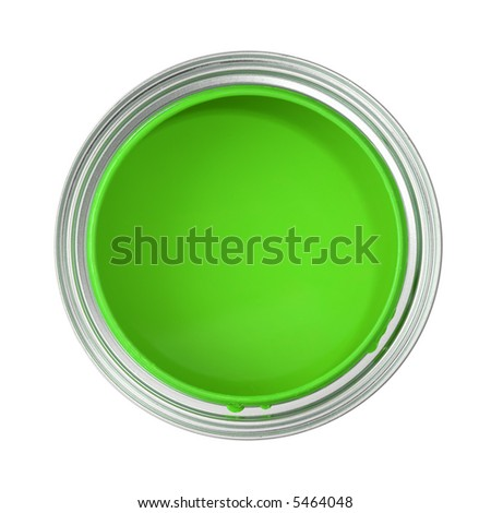 paint can filled with green paint (top view, isolated on white) - stock photo