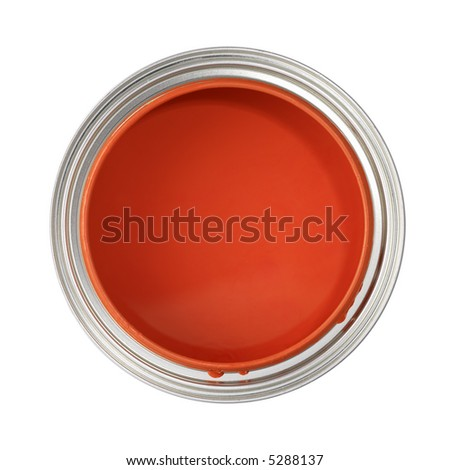 paint can filled with red paint (top view, isolated on white) - stock photo