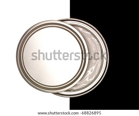 Paint can on black and white background - stock photo