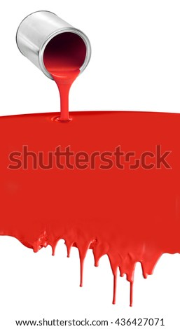 Paint can pouring dripping red paint on white background - stock photo