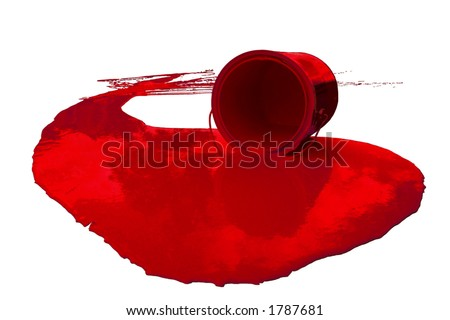 Paint Can Spill - Red [Isolated] - stock photo